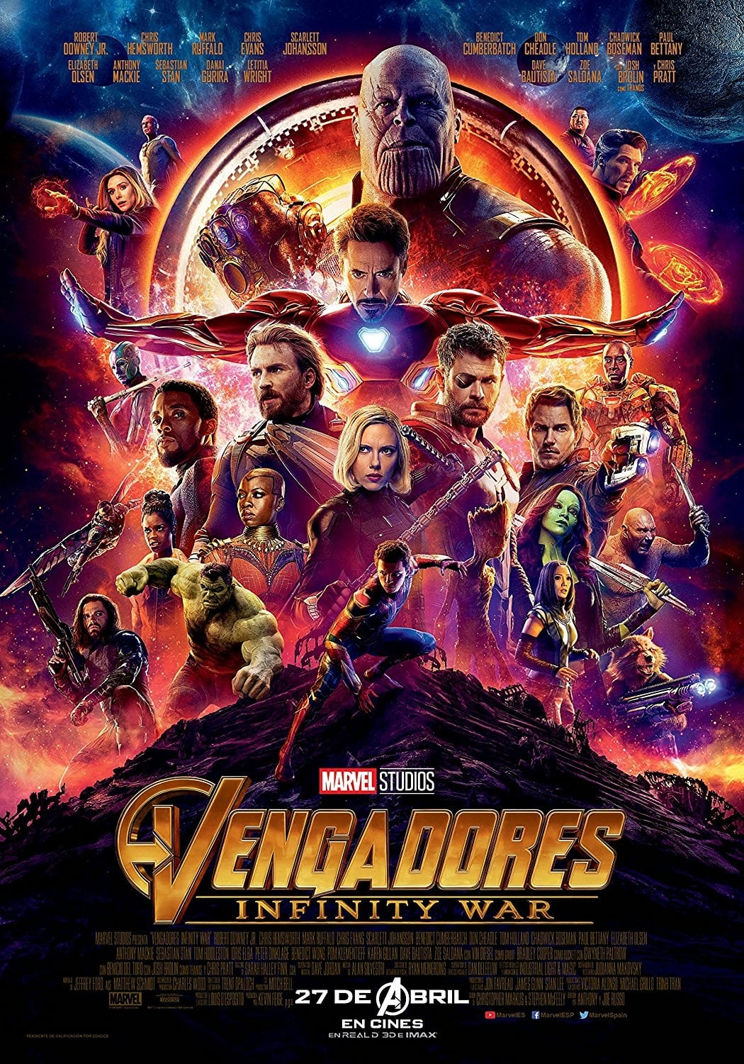 "Poster for the movie ""Vengadores: Infinity War"""